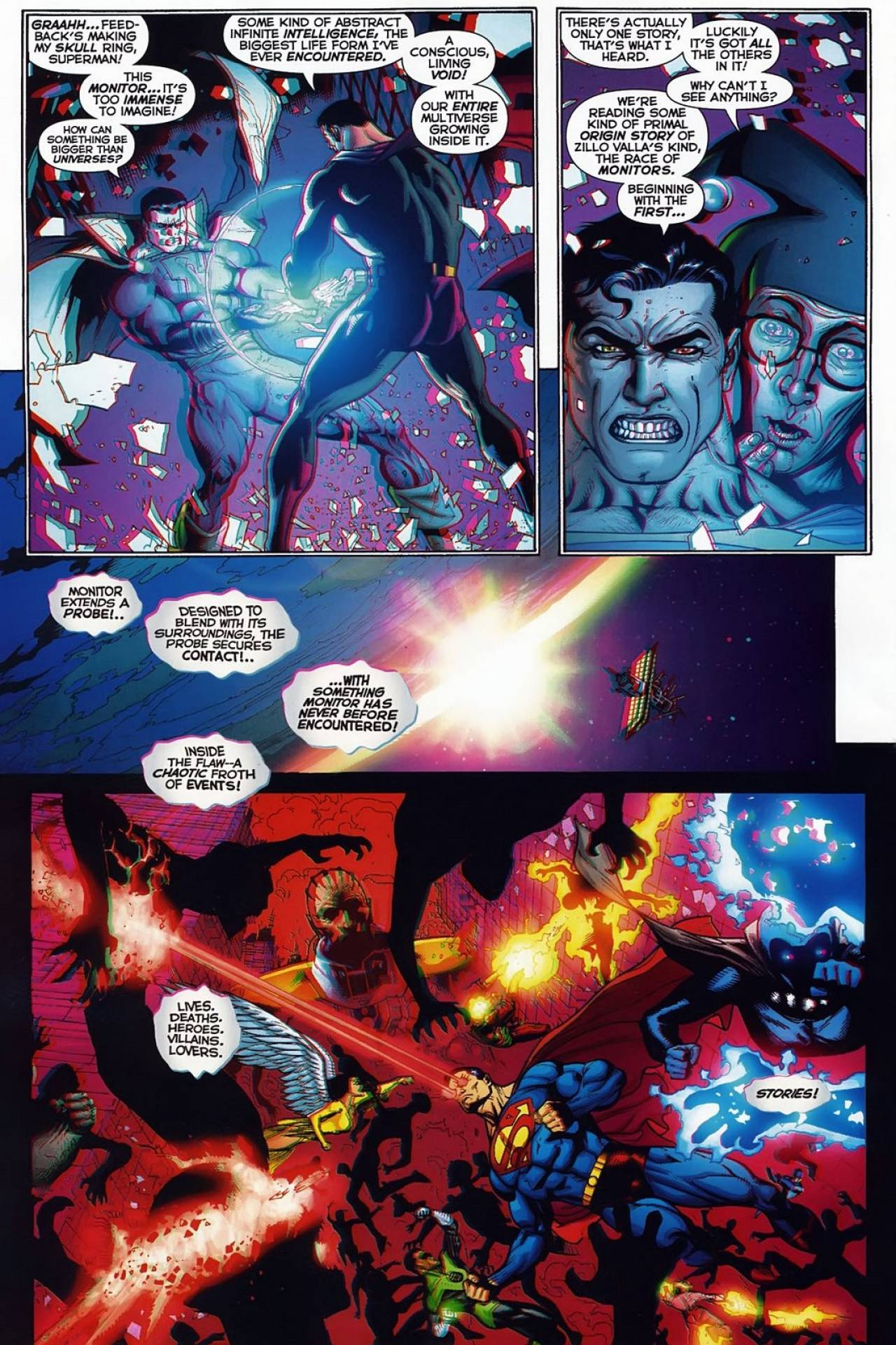 In 'Final Crisis: Superman Beyond' (2008) #1, Captain Marvel helped by Superman lifts the Book of Limbo, a book with infinite pages.