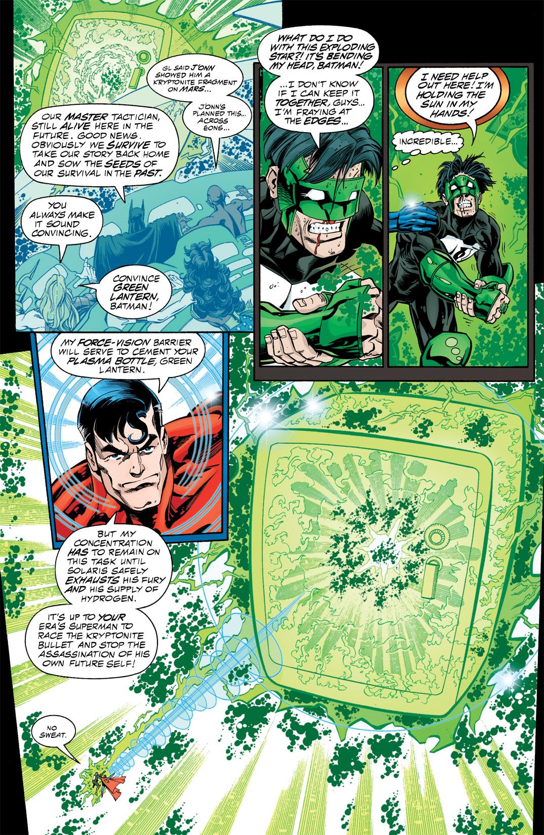 SUPER FEAT: In 'DC One Million' #4, Green Lantern Kyle Rayner holds Solaris in a plasma bottle helped by Superman One Million's Force Vision.