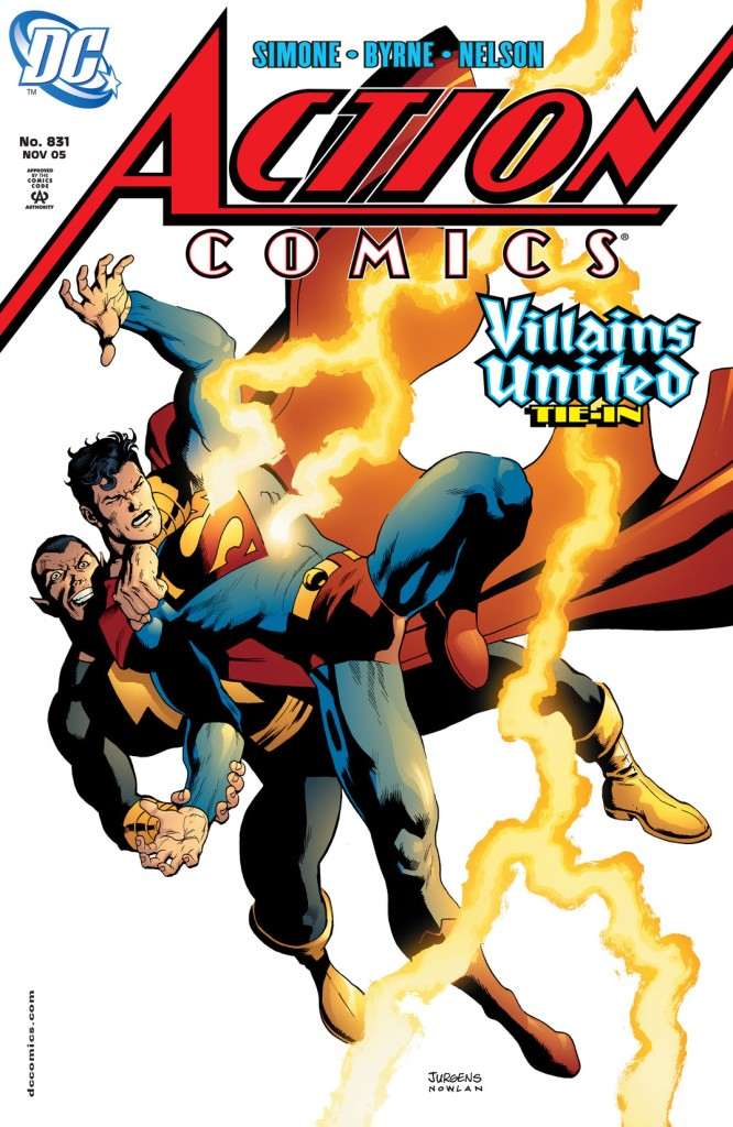 Superman and Black Adam battling with lightning striking Superman on the front cover of 'Action Comics #831'.