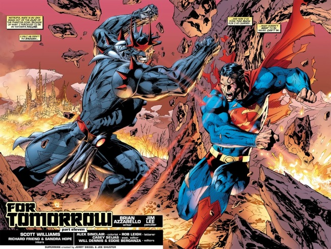 Superman and Zod battling with punches and blasts of heat vision in Metropia.