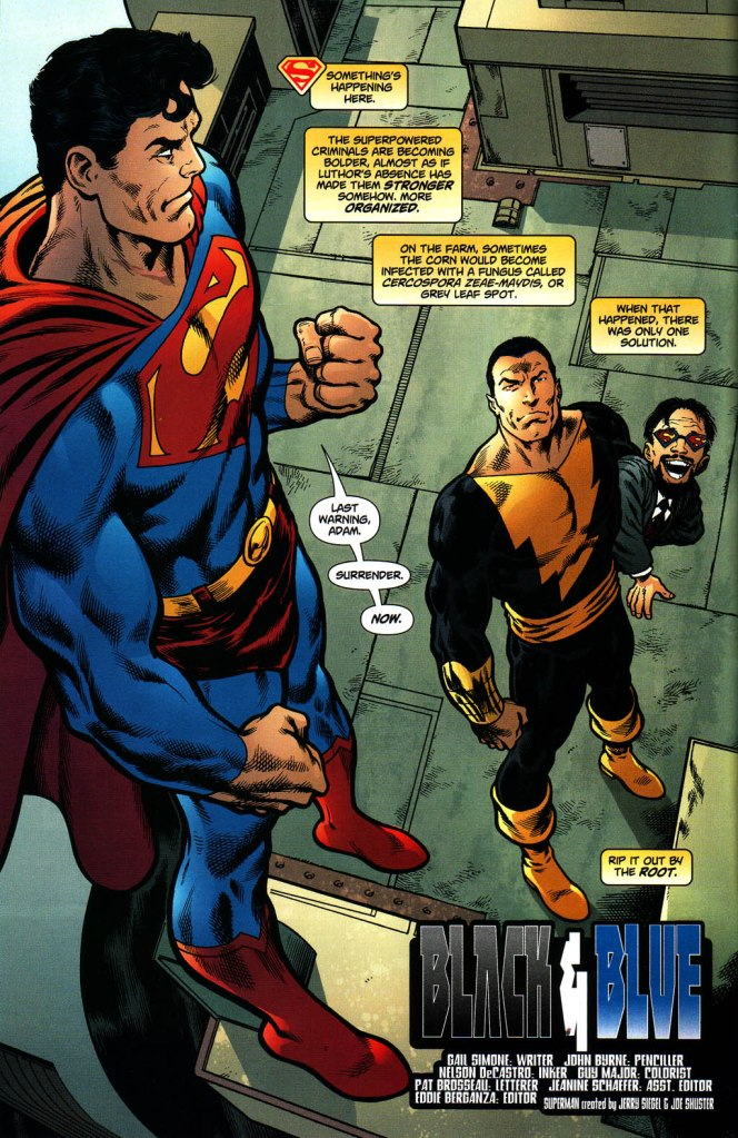 In 'Action Comics (2005) #831, Superman confronts Black Adam over his protection of the villain Doctor Psycho.