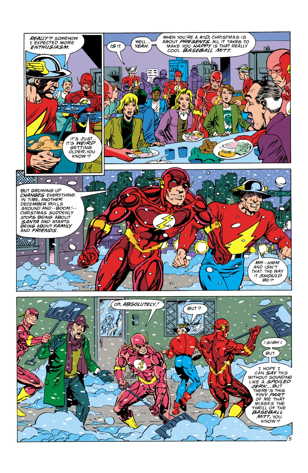In the 'Flash #73' titled 'The Perfect Gift' (1992), The Flash (Wally West) and The Flash (Jay Garrick) do some super heroics on Christmas Eve around Central City.