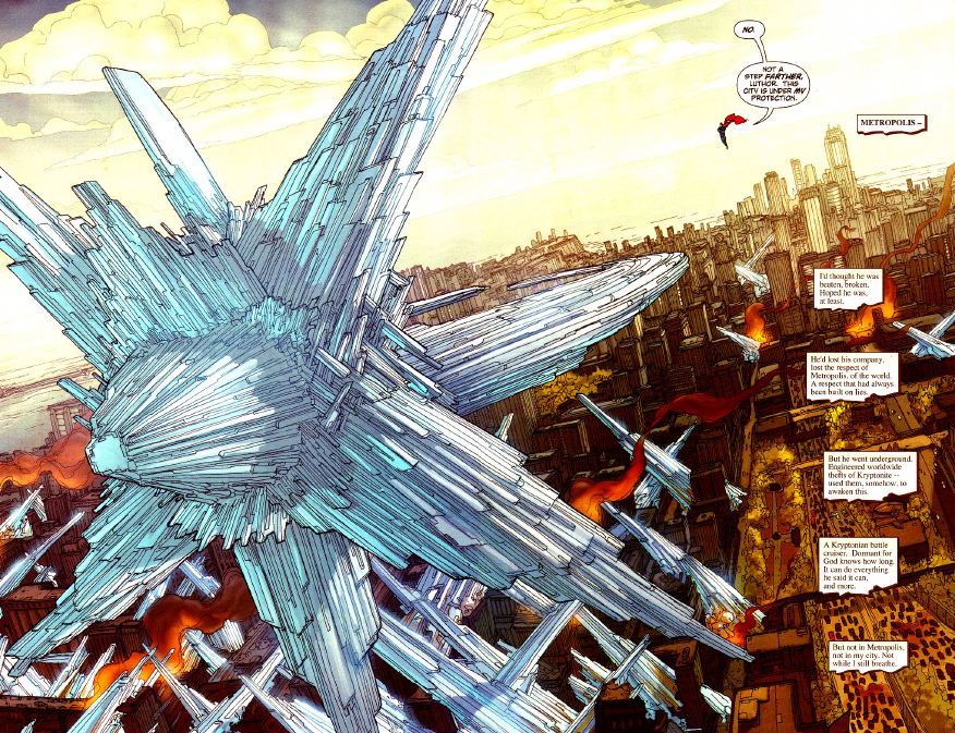 In 'Superman' #653, Lex Luthor pilots a Kryptonian warship powered by sunstone technology over Metropolis.