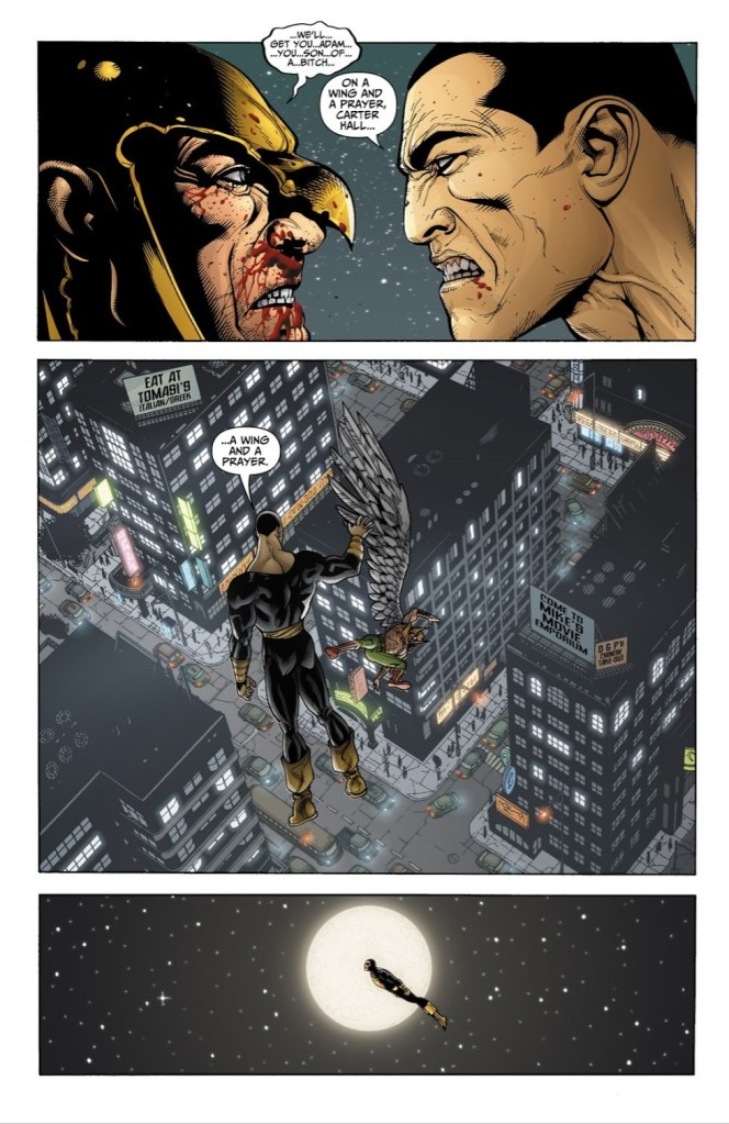 Black Adam let's Hawkman fall into the city as he triumphs over the battle!