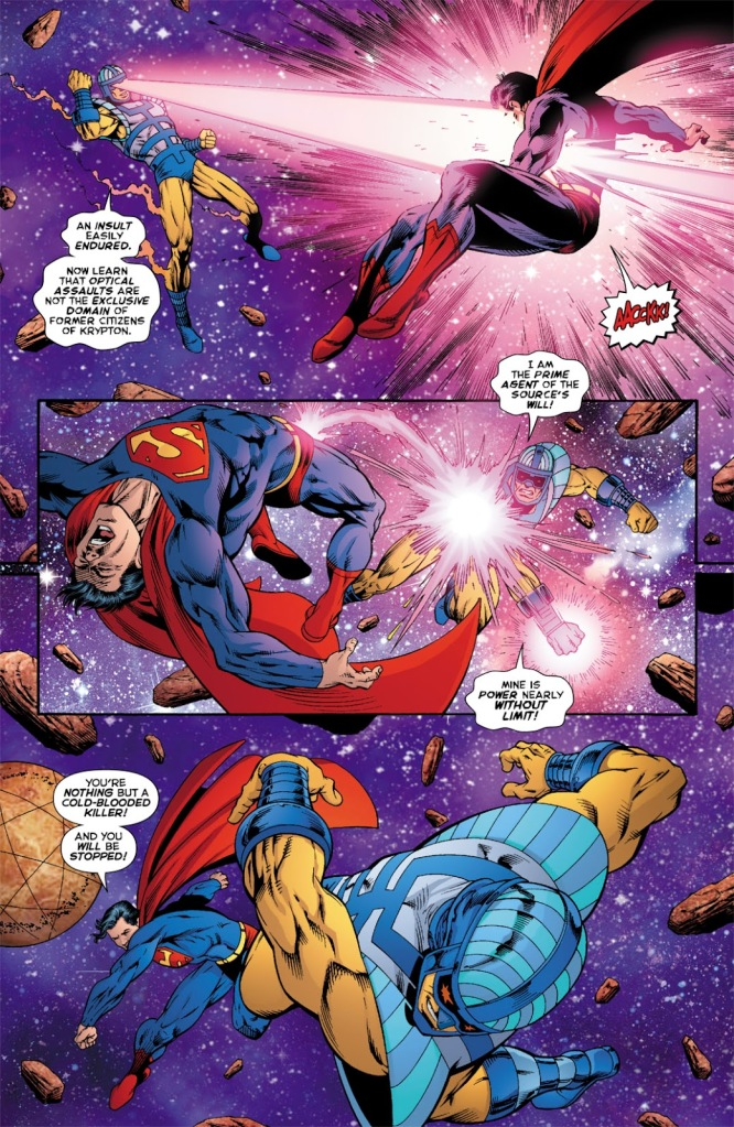 "In 'Death Of The New Gods #7' (2008), Infinity Man ""The Prime Agent of the Source's Will"" punches Superman!"