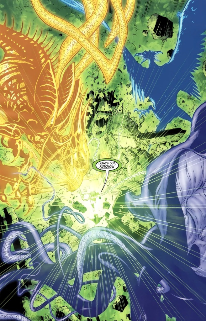 In 'Green Lantern #62' (2005), Green Lantern Hal Jordan punch-blasts Krona in its attempt to gather the Emotional Entities.