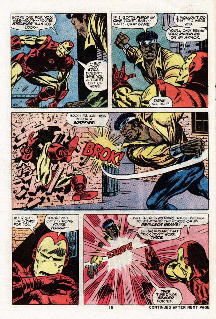 In 'Power Man #17',  Power Man punches Iron Man through a brick wall.