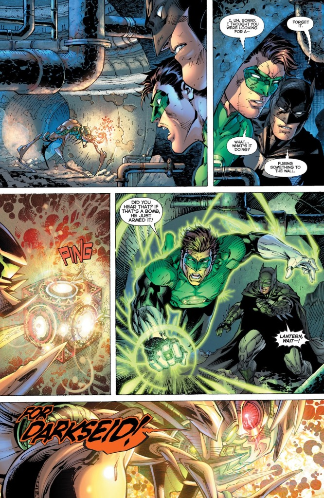 In 'Justice League #1' (2011), a parademon triggers a Father Box to explode as Green Lantern and Batman investigate in Gotham City underground sewers.