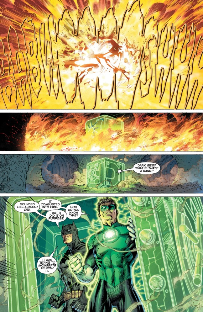 In 'Justice League #11' (2011), Green Lantern and Batman in an Oan shield construct, survive the explosion of the Father Box in Gotham City underground sewers.