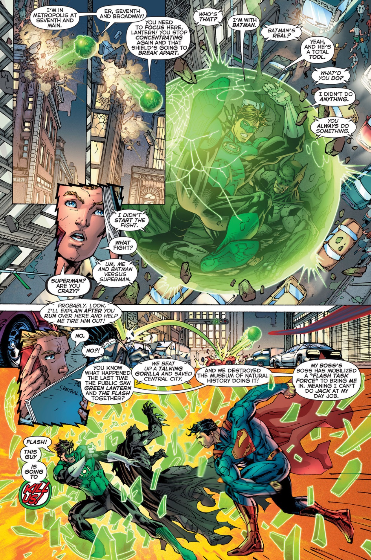 In 'Justice League #2' (2011), Superman breaks Green Lantern's spherical light construct with a punch, stunning Green Lantern and Batman.