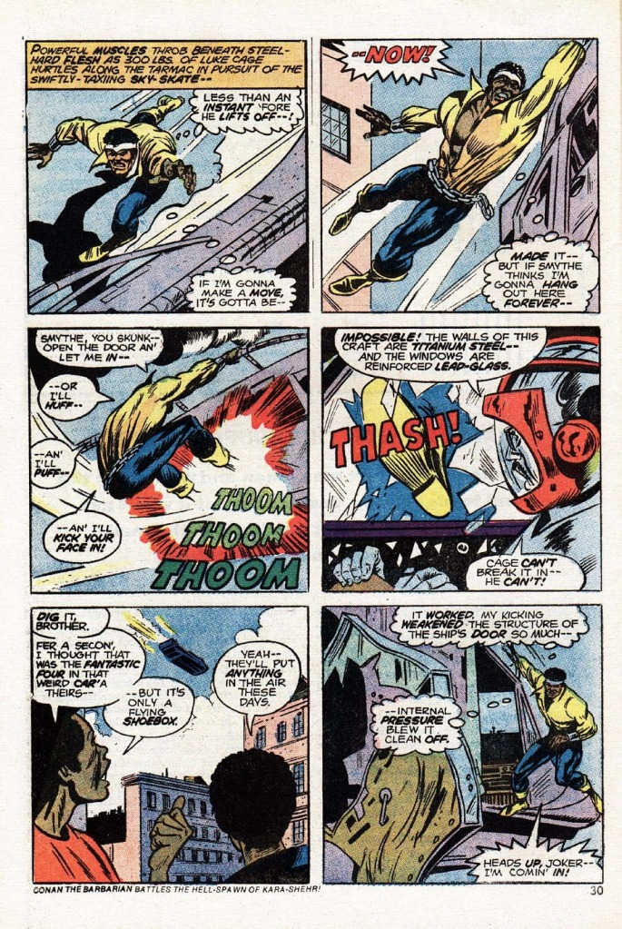 In 'Power Man #17', Power Man barrels his way through a titanium steel door as Orville Smythe's Sky-Skate flies through the air.