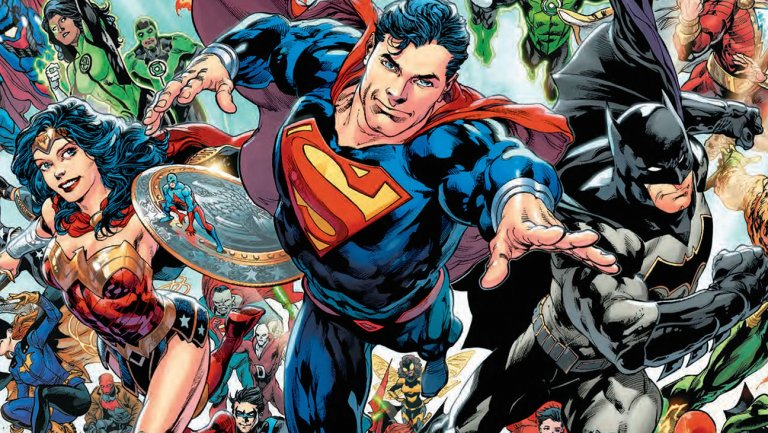 Superman, Batman and Wonder Woman flying in DC Universe: Rebirth leading the other heroes.
