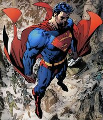 Superman in the Middle East hovering over the land to stop a war.