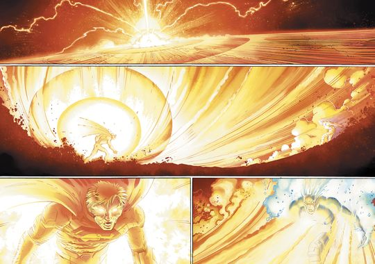 In 'Superman #38', Superman releases the super flare for the first time against Ulysses, depleting his cells of solar radiation energy and remaining powerless for 24 hours.