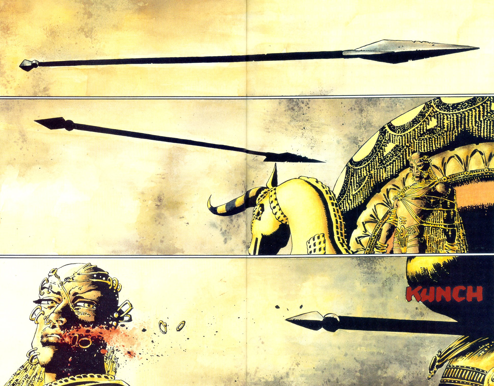 In '300', King Leonidas' arrow injures Xerxes' right cheek. Photo/Dark Horse Comics.