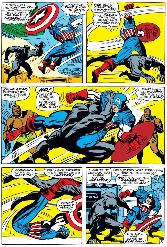 In 'Captain America #100' (1968), Black Panter tests Captain America in a fight in Wakanda.