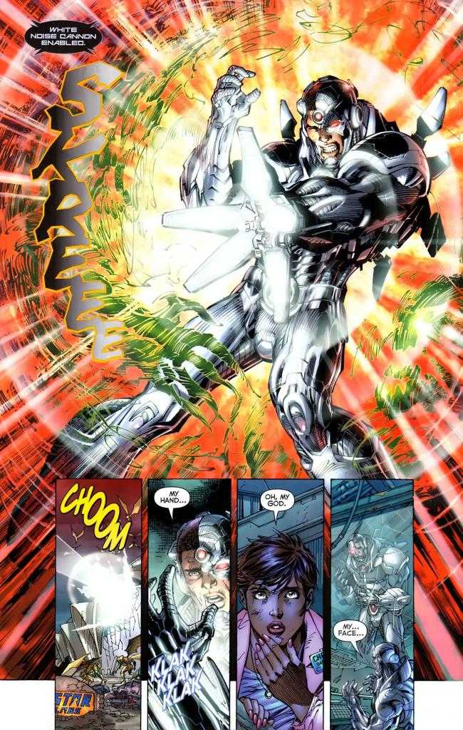 In 'Justice League #4' (2012), Cyborg vaporizes a parademon with a White Sonic Cannon.