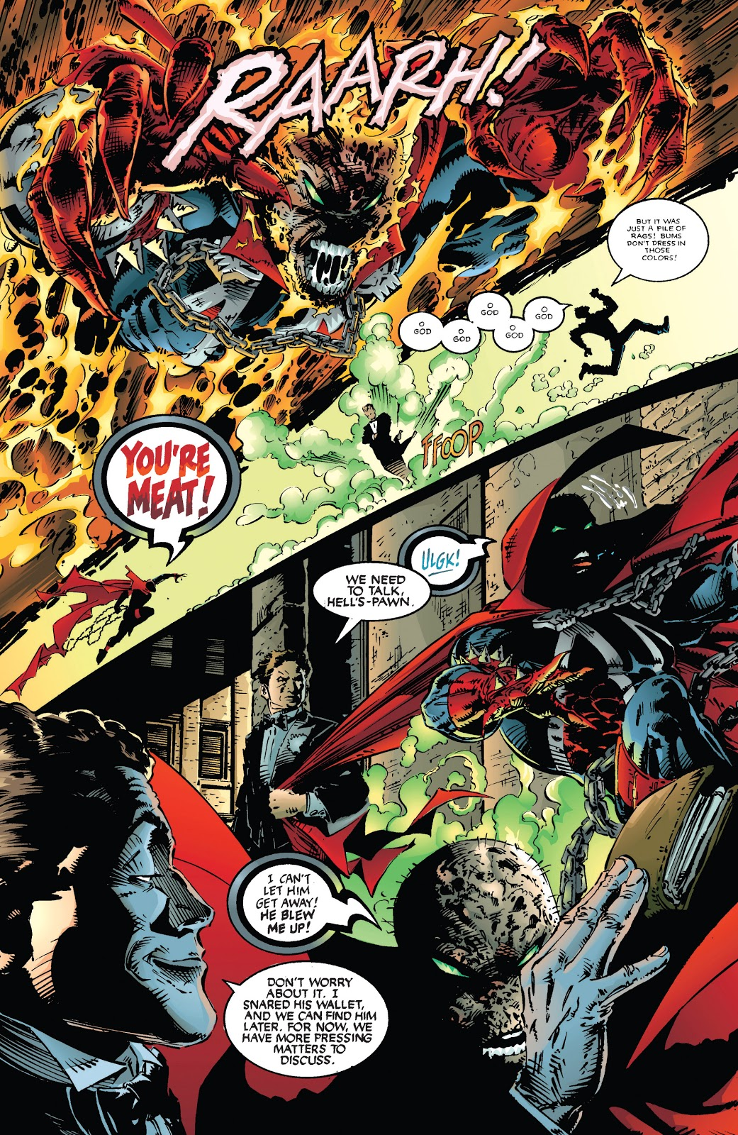 In 'Spawn' (1994) #19, Spawn survives an explosion of a click of bottles. He pursues the assailant, only to be interrupted by Harry Houdini.