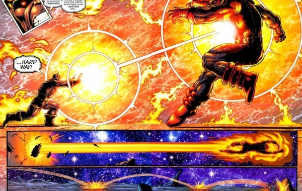 In 'Thanos #5' (2004), in order to thwart Galactus from collecting the Infinity Gems to satiate his hunger, Thanos blasts Galactus off his vessel, knocking off his helmet.