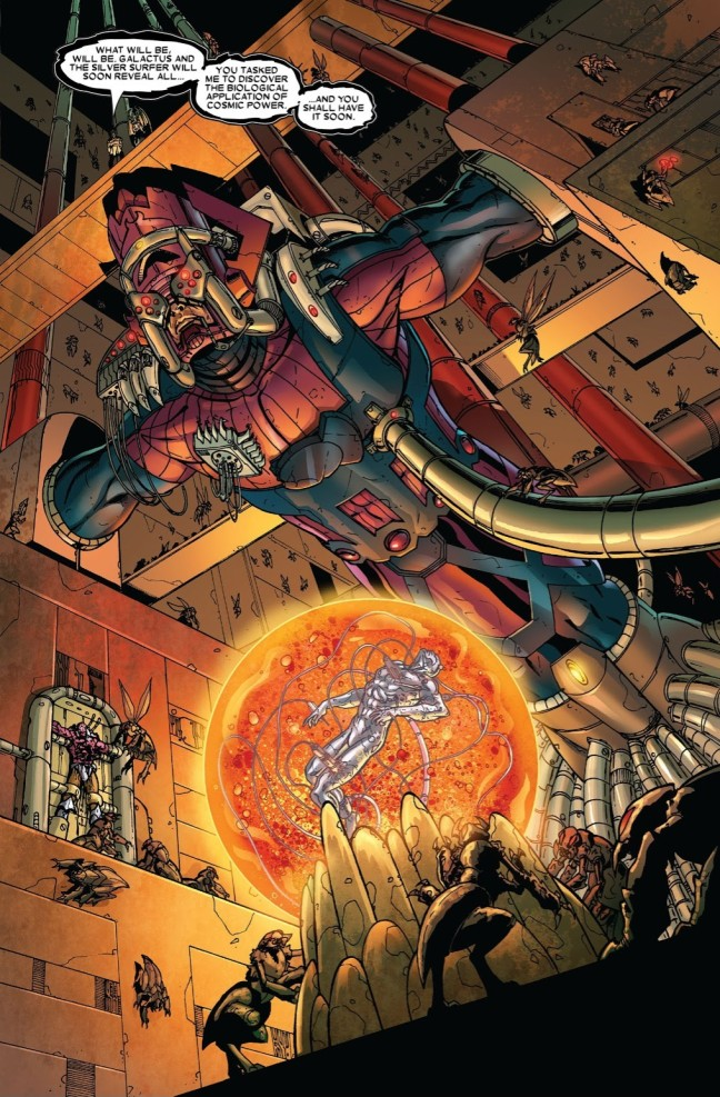 "In 'Annihilation' (2006) #2, Galactus and Silver Surfer are imprisoned on ""The Skrull Reach"", Thanos' starship."