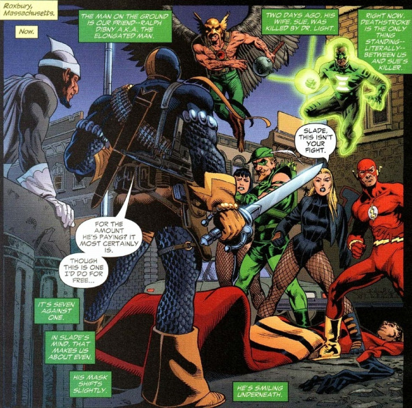 In 'Identity Crisis' (2004) #3, Deathstroke faces the Justice League Of America while protecting Dr. Light over the death of Sue Dibny, the Elongated Man's wife.
