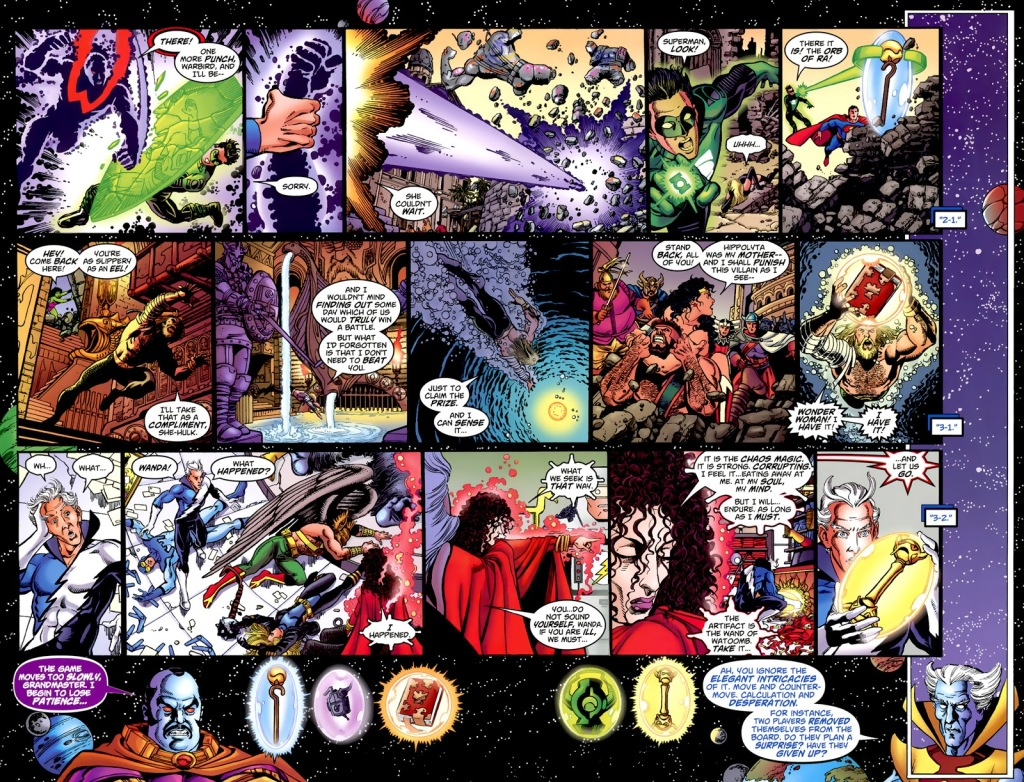 In 'JLA/Avengers' (2003) #2, with DC and Marvel champions seeking to gather artifacts to save their respective universes, Wonder Woman restrains Hercules.