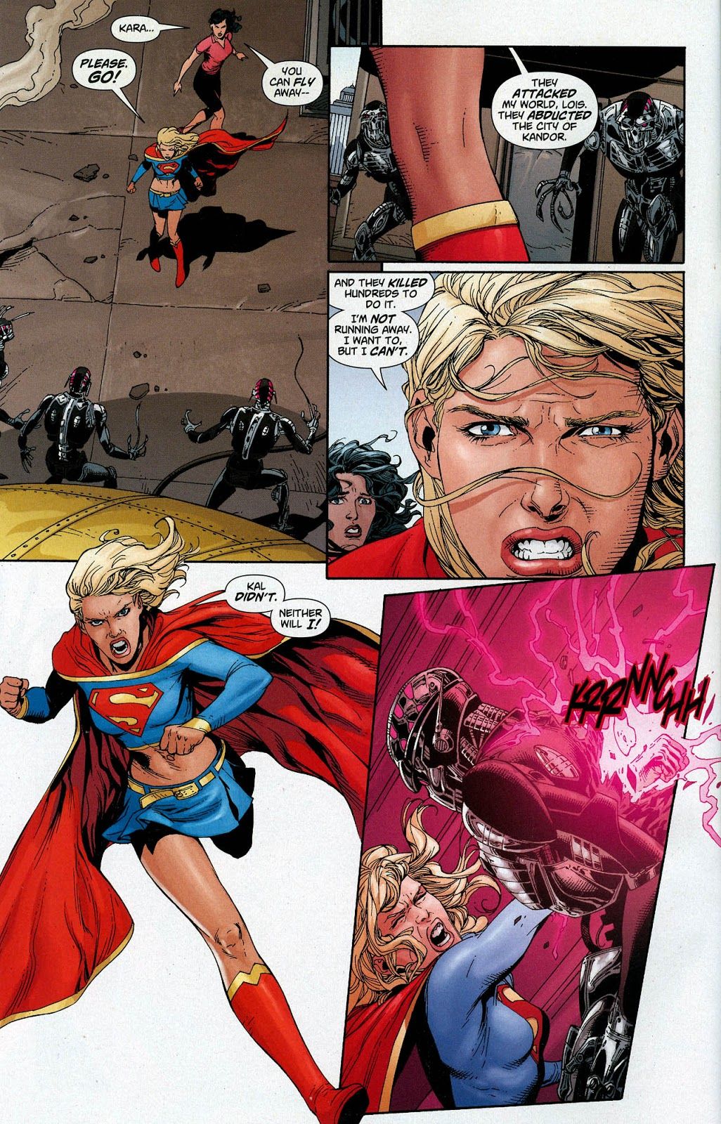 In 'Action Comics' (2008) #869, Supergirl punches through a Brainiac probe.