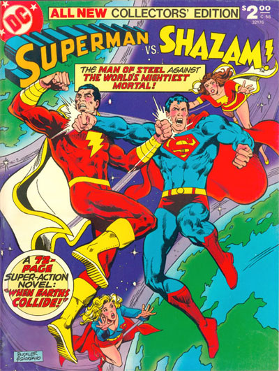 In 'All-New Collectors' Edition' (1978) Vol 1 C-58, Superman faces Captain Marvel (Shazam)for the first time in a comic book rumble!