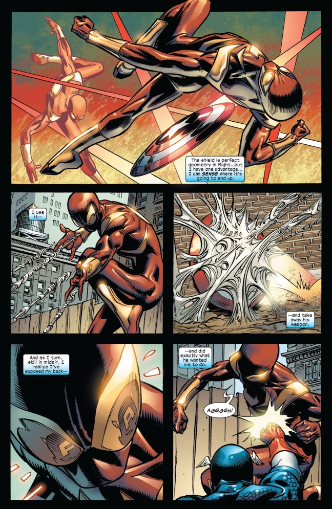 In 'Amazing Spider-Man' (2006) #534, Spider-Man faces Captain America in combat and evades Captain America's shield throws.