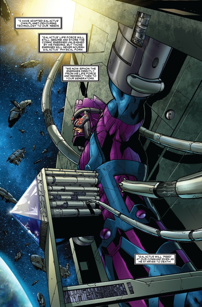 In 'Annihilation' (2006) #3, Galactus is turned into a weapon by Thanos and the Annihilation Wave to destroy the multiverse.