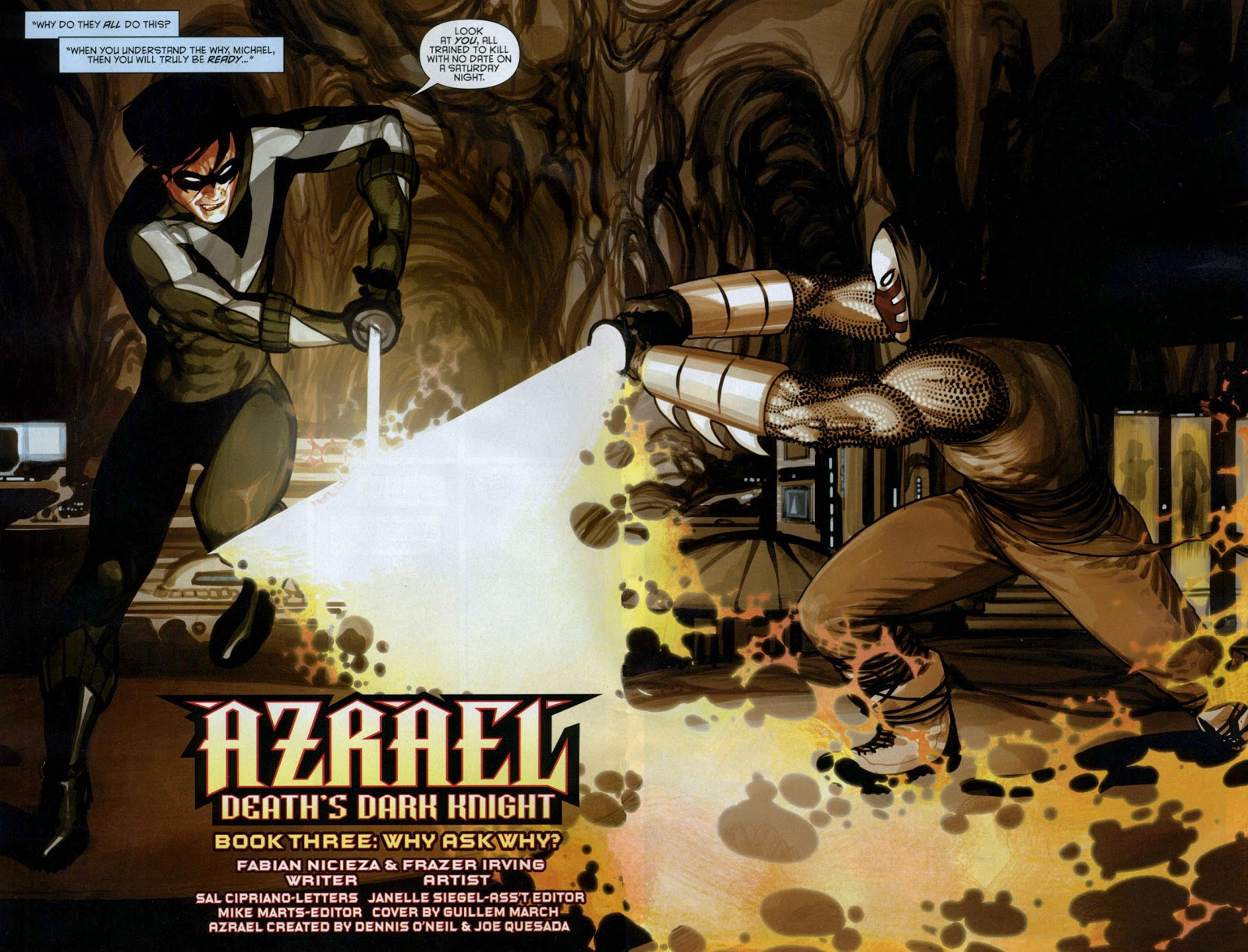 In 'Azrael: Death's Dark Knight', Nightwing fights Azrael who has the Sword Of Sin.