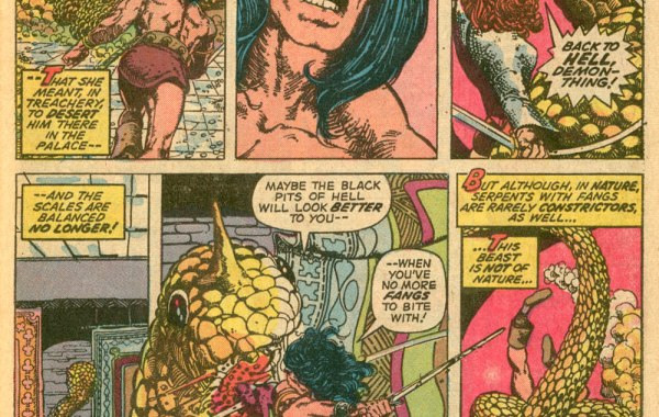 In 'Conan The Barbarian' (1973) #24, Conan and Red Sonja fight the Devil-Beast.