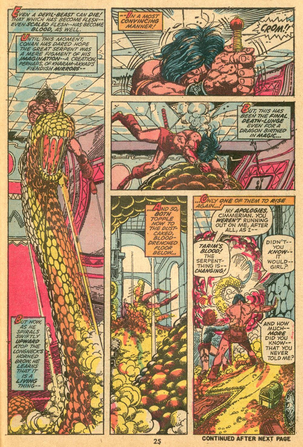 In 'Conan The Barbarian' (1973) #24, Conan pierces the Devil-Beast's head with his sword, killing it.