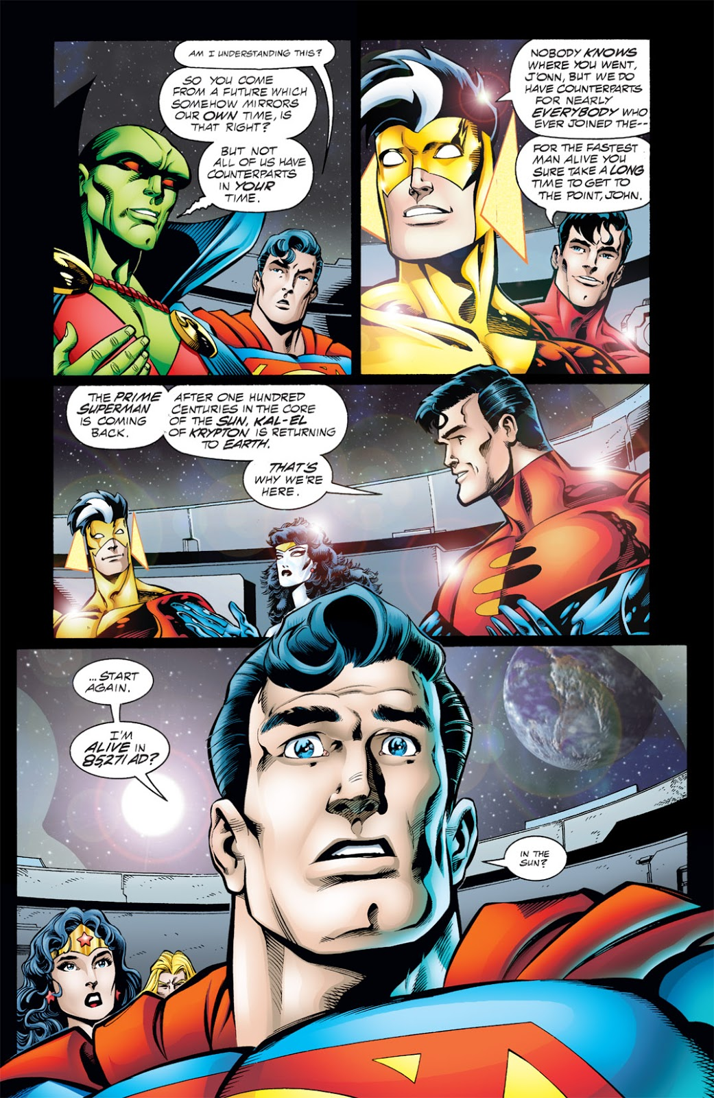 In 'DC One Million' (1998) #1, Kal Kent informs the Justice League of the return of Superman Prime One Million in 85,271 AD from the super sun.