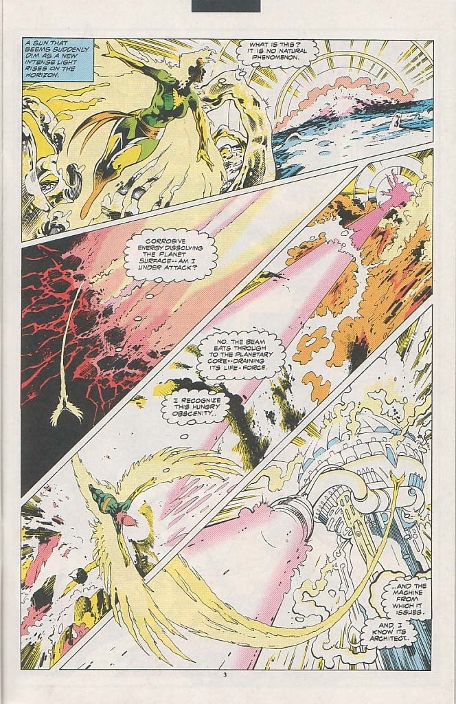 In 'Excalibur' (1993) #61, the Phoenix figures out that the elemental converter is draining the planet of its life-force.