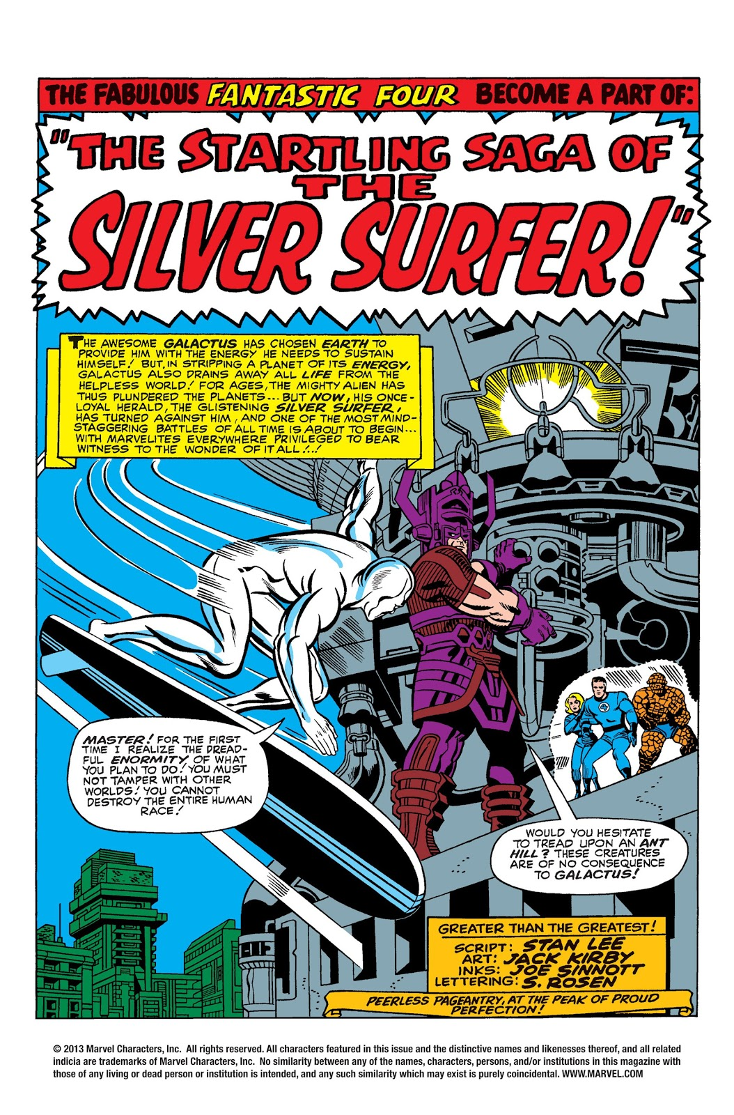 In 'Fantastic Four' (1966) #50, Silver Surfer opposes Galactus as he prepares to activate his elemental converter.