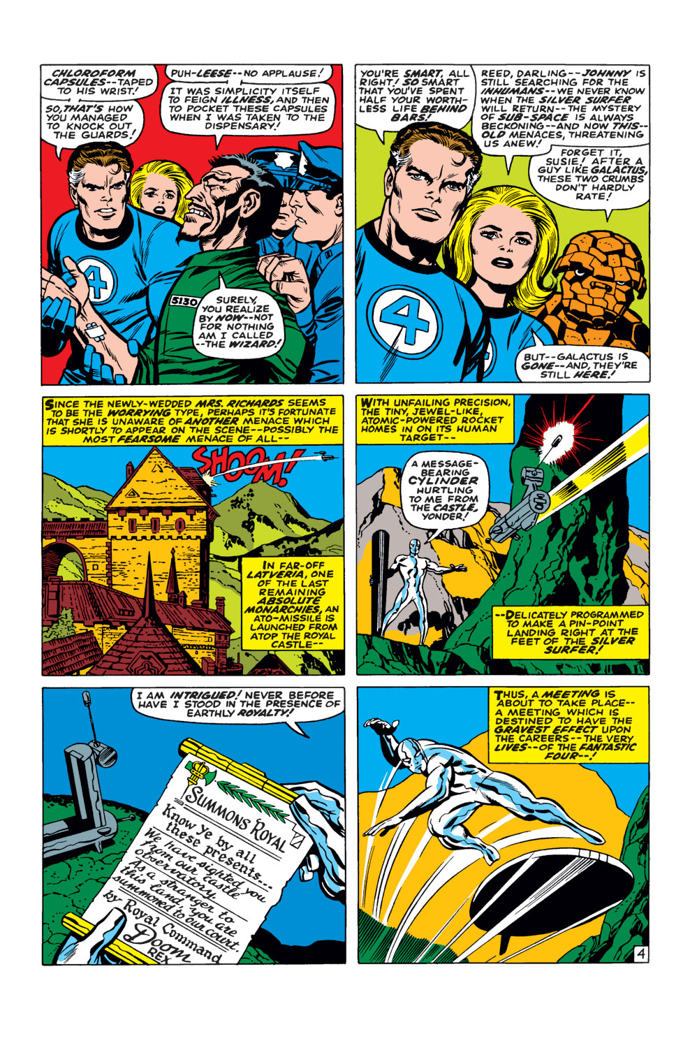 In 'Fantastic Four' (1968) #57, Doctor Doom sets his plan into motion and invites Silver Surfer to his royal castle.