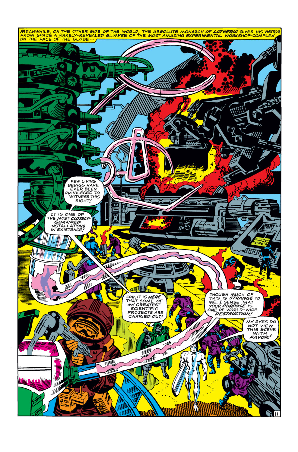 """In 'Fantastic Four' (1968) #57, Doctor Doom takes Silver Surfer to his workshop-complex and shows him """"the scientific projects"""" he is working on."""