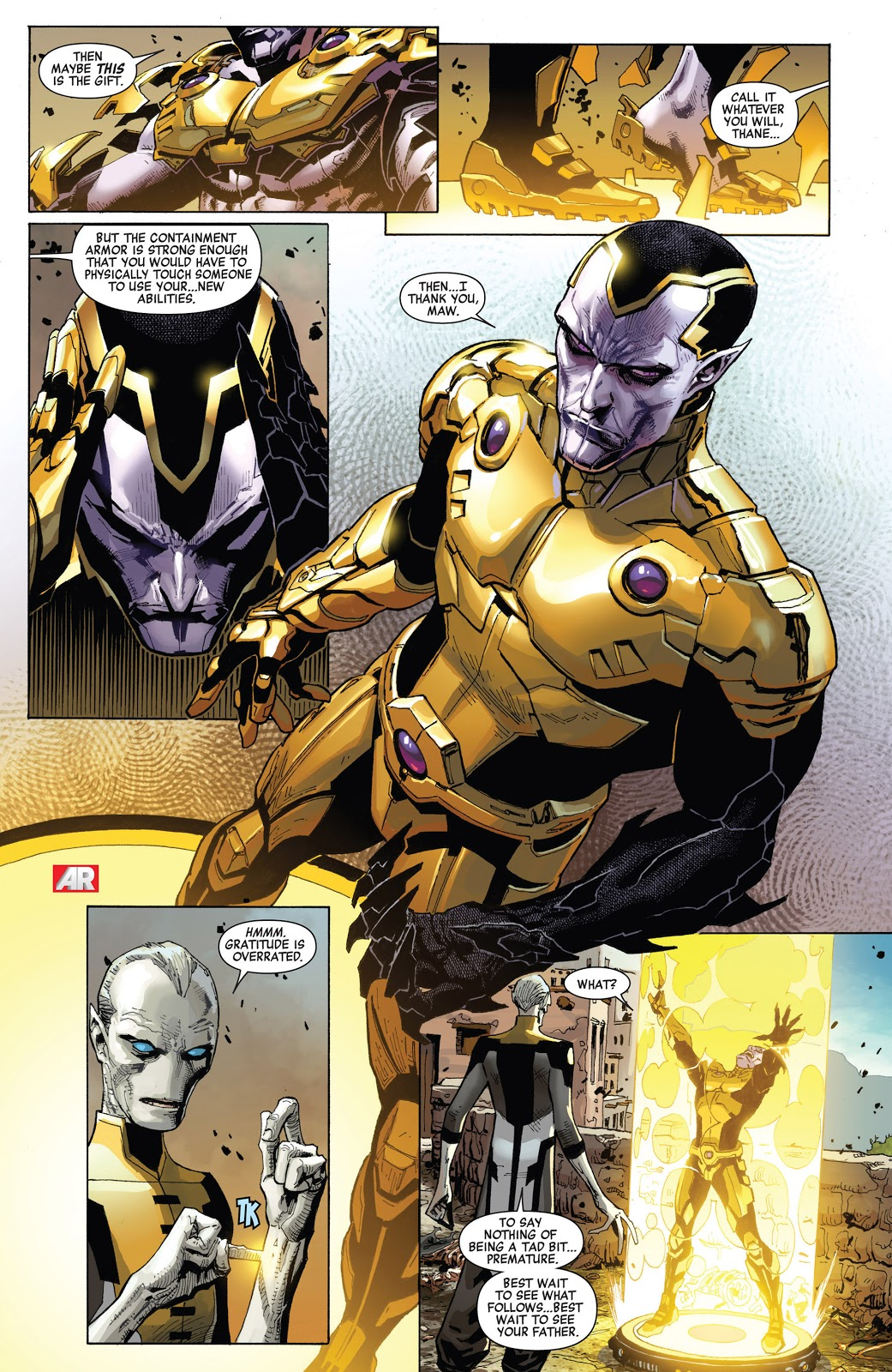 In 'Infinity' (2013) #5, Ebony Maw grants Thane a containmen armor then imprisons him in a containment field.