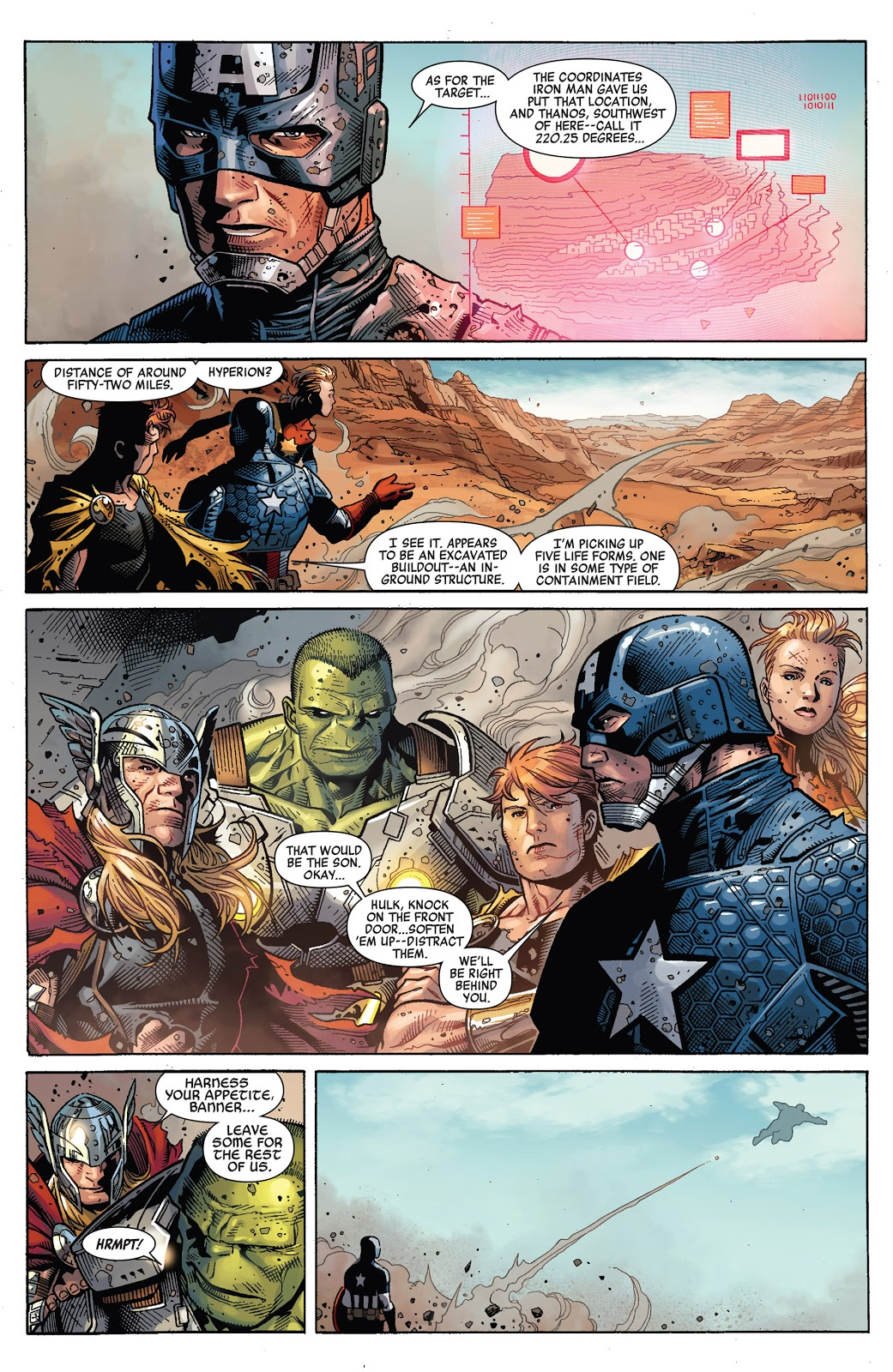 In 'Infinity' (2014) #6, Captain America and the Avengers scout the area in the Inhuman city of Orollan before launching the attack on Thanos.