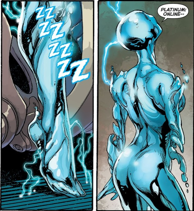 In 'Justice League' (2014) #28, Platinum is the fifth to come online.