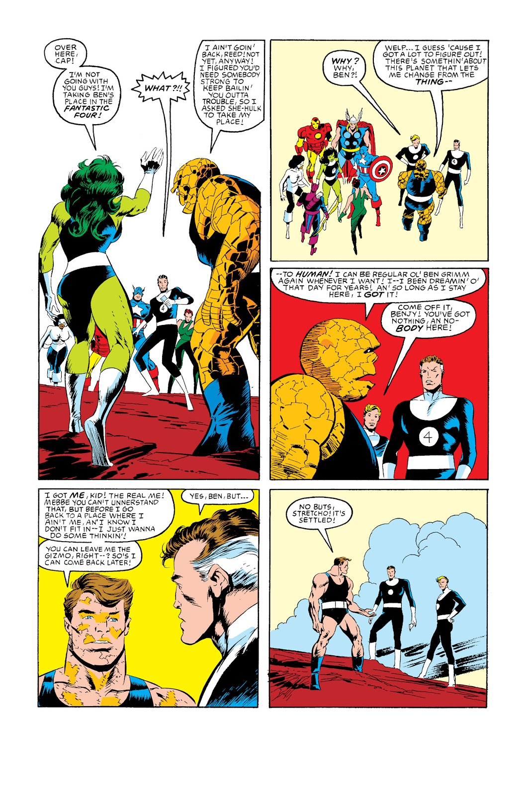 In 'Marvel Super Heroes Secret War' (1985) #12, She-Hulk accompanied by the Thing, joins the Fantastic Four.