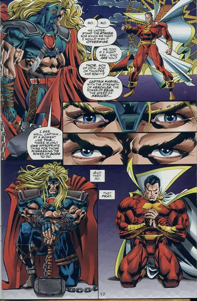 In 'Marvel versus DC' (1996) #2, Captain Marvel (Shazam) faces Thor in a battle to decide whose universe survives.