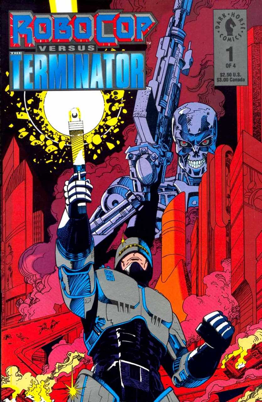 'Robocop versus The Terminator' #1 (2012) is set in the year 2029. It is about a female soldier named Flo that time travels to Robocop's time to kill Alex Murphy.