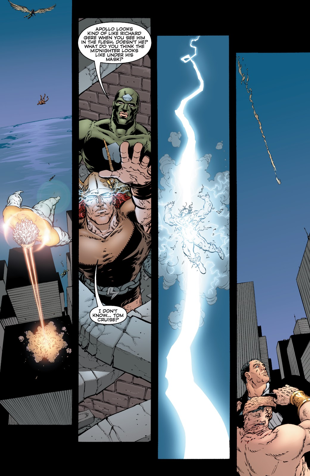 "he Authority' (2000) #14, Storm-God blasts Apollo with an ""ionized particle strike."""