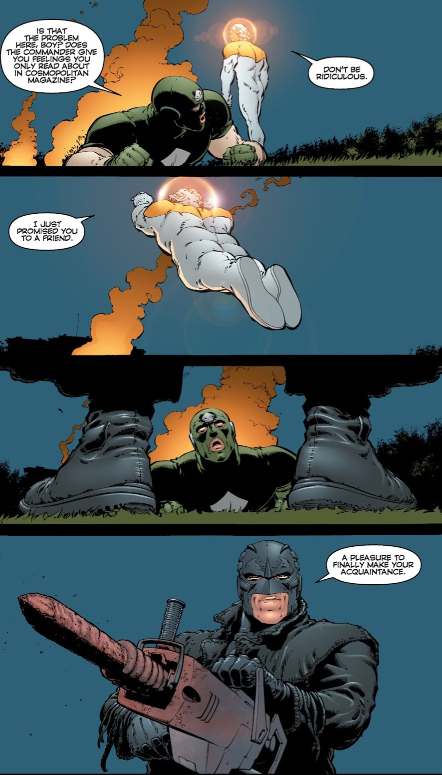 In 'The Authority' (2000) #16, Midnighter avenges Apollo's rape by The Commander with a jackhammer.