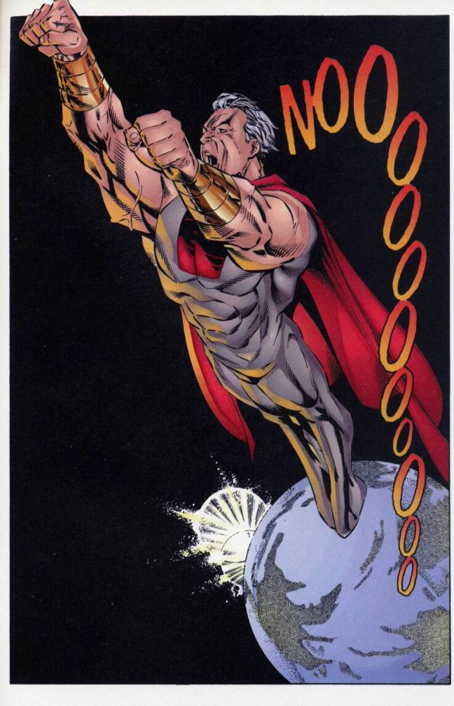 In 'The Legend Of Supreme' (1994) #3, Supreme leaves the Earth in anguish over his killing of Father Beam.