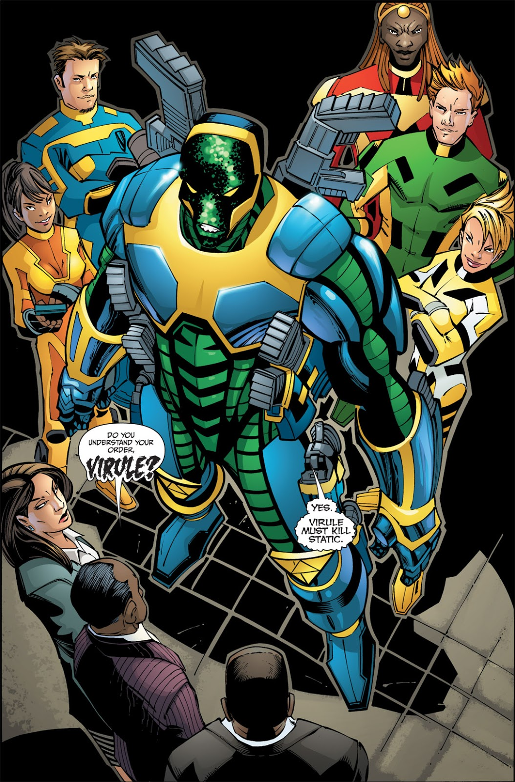 In 'Static Shock' (2011) #1, Virule is selected by the Slate gang to take out Static.