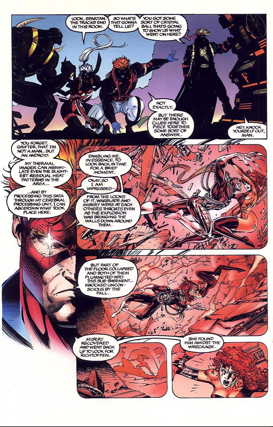 In 'WILDC.A.T.S Covert Action Team #6' (1993), Spartan recreates an entire fight using thermal signatures.