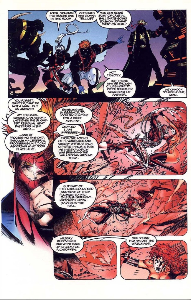 In 'WILDC.A.T.S Covert Action Team' (1993) #6, Spartan recreates an entire fight using thermal vision.